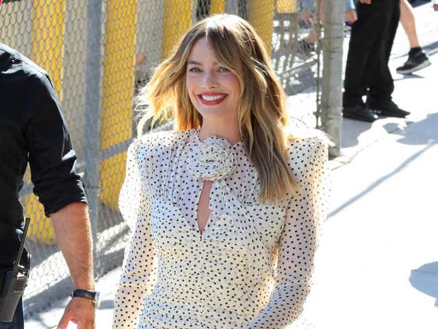 Margot Robbie is seen at 'Jimmy Kimmel Live!' on July 21, 2021.