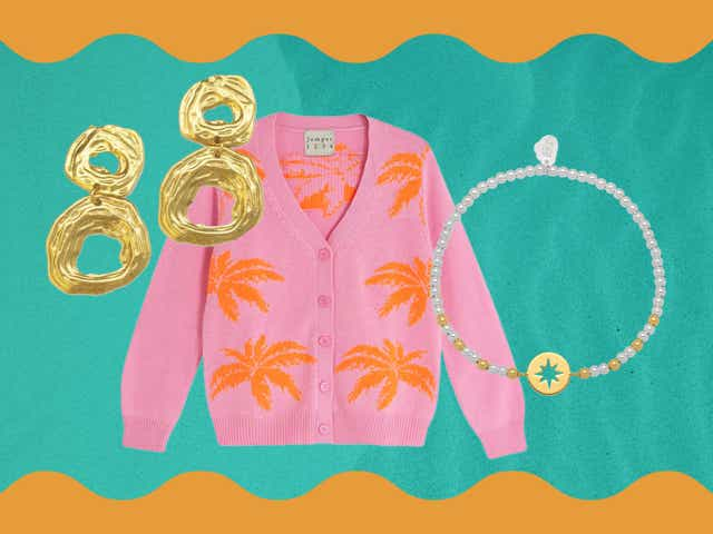 Product collage with gold earrings, pink jumper, face cushion, black sandals and beaded necklace