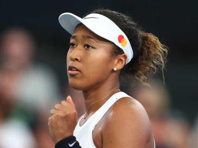 Naomi Osaka of Japan celebrates a point in her quarter final match against Kiki Bertens.