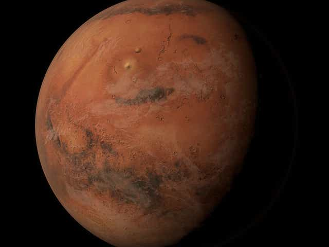 The planet Mars in space.