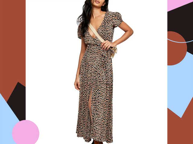 Model wearing dress.