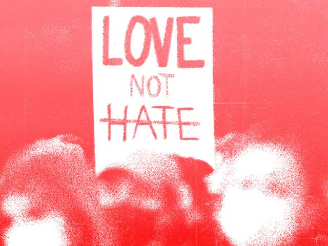 An image of a protest with the words love not hate on a placard over a red background