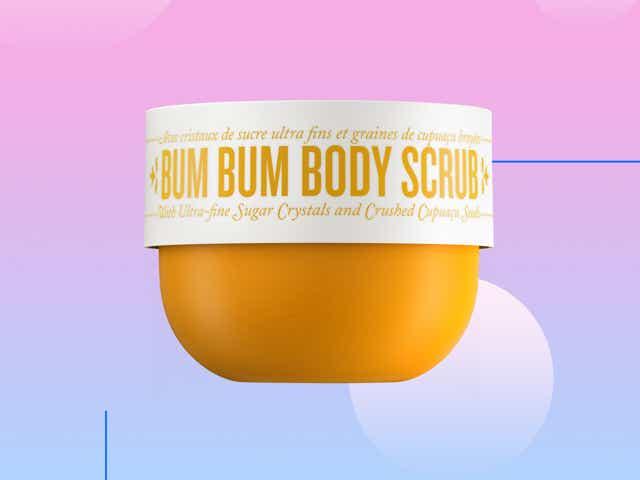 Bum Bum Body Scrub on a designed background.