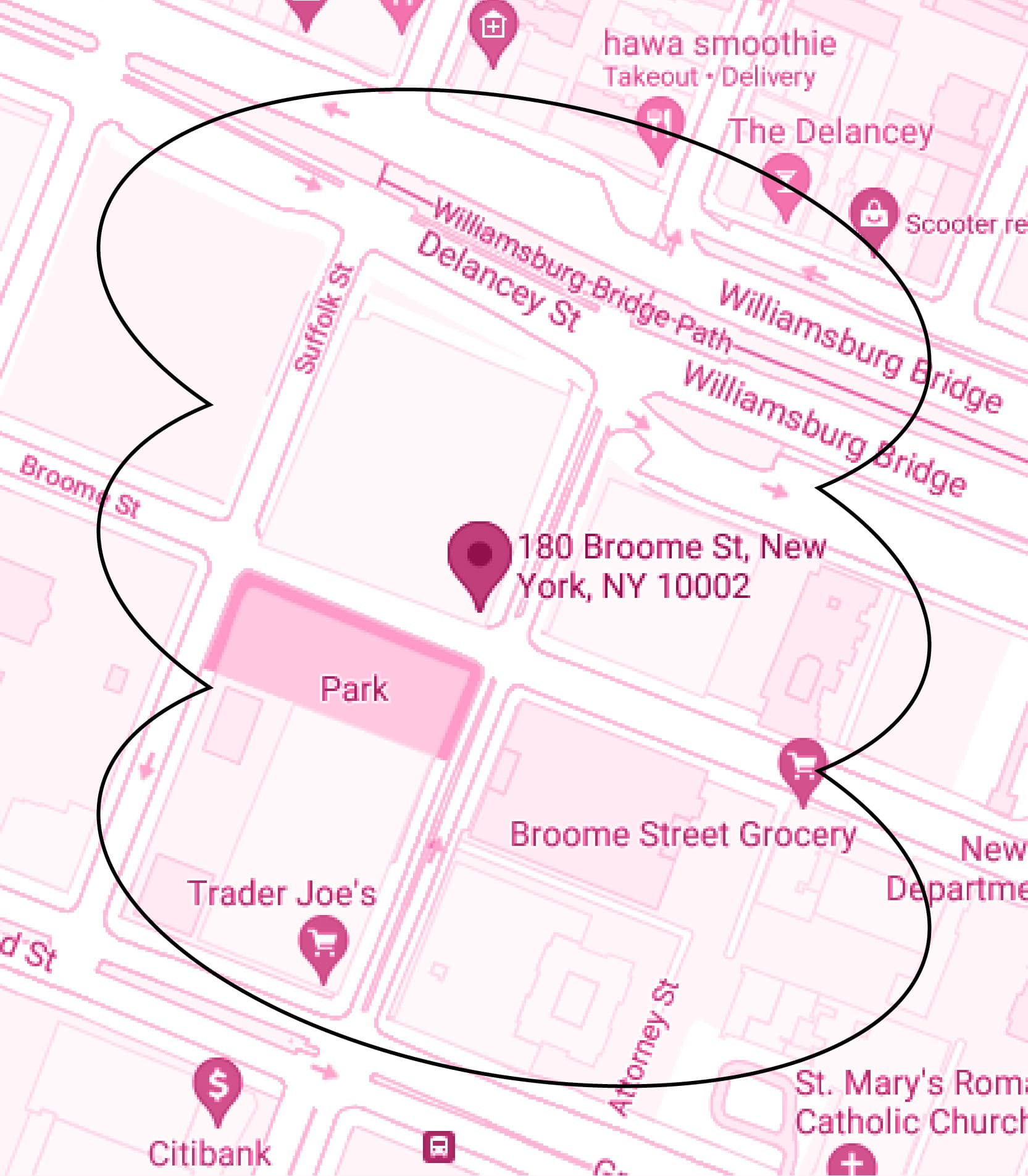 Map. The Market Line. 180 Broome St, NYC.