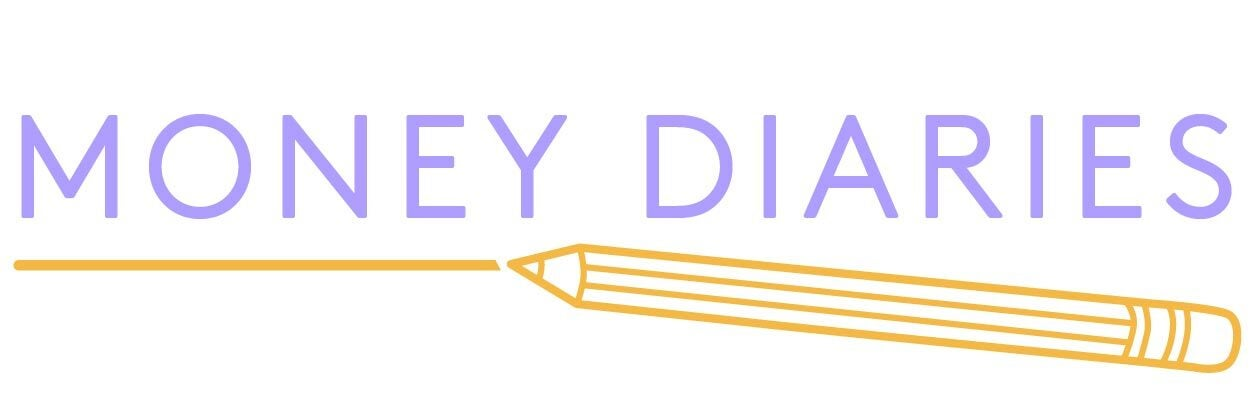 Money Diaries logo, purple text underligned with yellow pencil