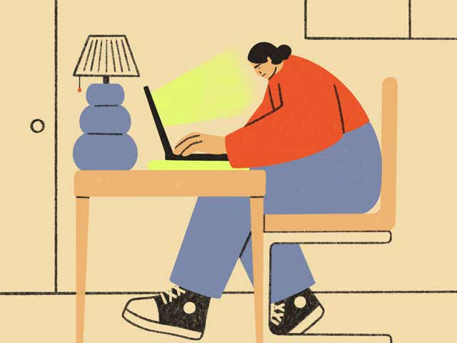 Illustration of a person sitting at a desk on their laptop