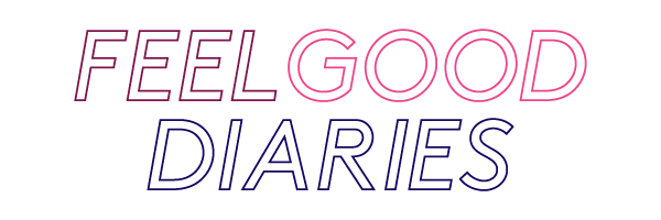 Feel Good Diaries logo in purple and pink letters.