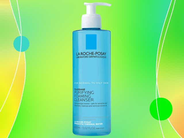 Bottle of La Roche Posay cleanser against a lime green background