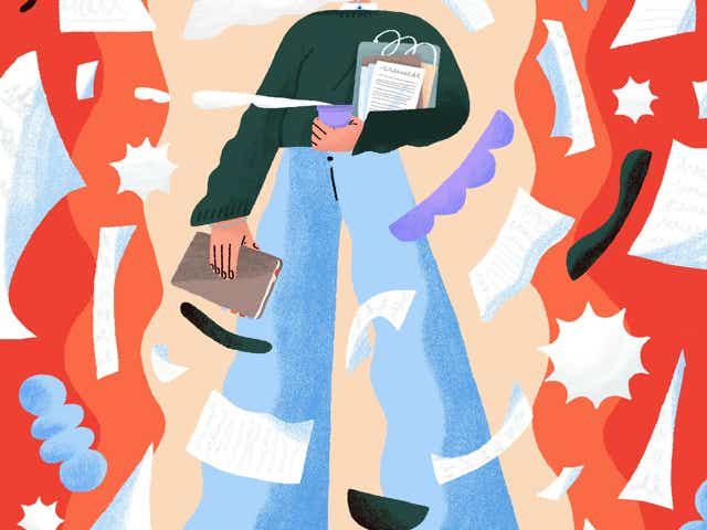 Illustration of a woman holding work items with lots of papers and shapes flying around her