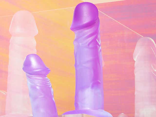 Purple dildos against a pink and orange prismatic background