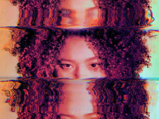 Abstract photo of face scanned and duplicated