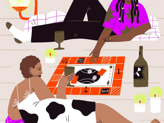 Illustration of two women playing a board game while drinking wine, surrounded by candlelight