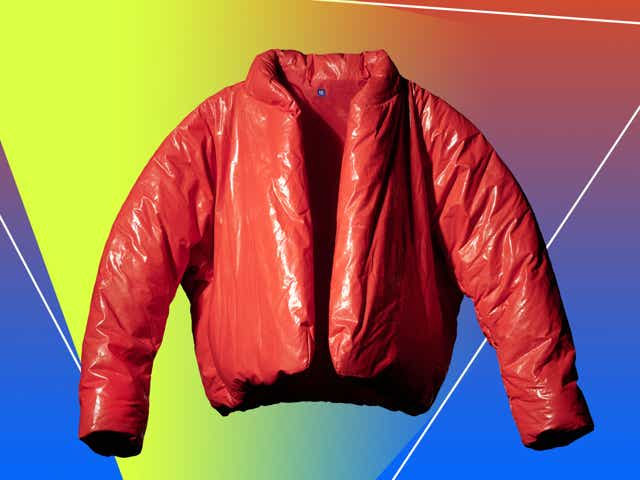 Gap Yeezy red puffer jacket.