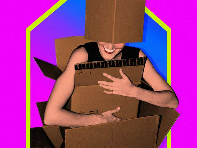 An illustration of a woman in a bunch of moving boxes