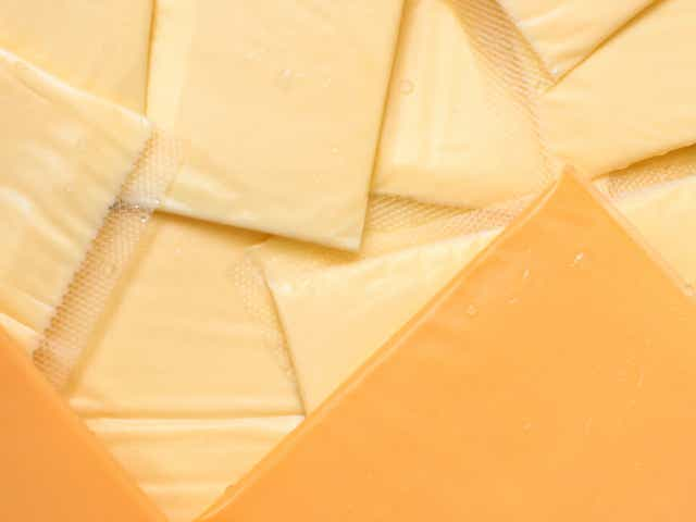 Slices of american cheese.