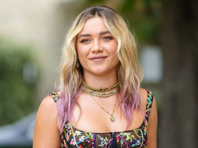 Florence Pugh with blonde hair street style photo