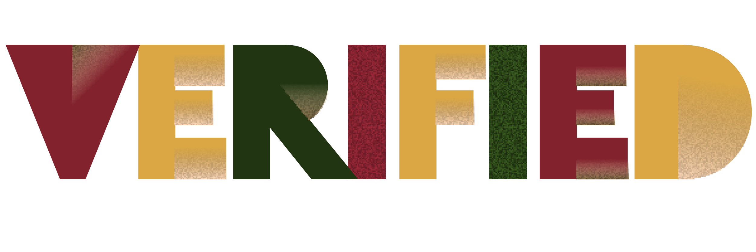 Verified logo red yellow green letters