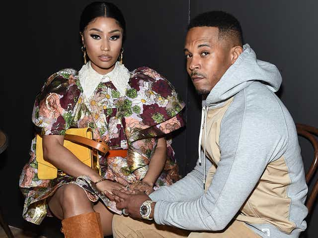 Nicki Minaj and Kenneth Petty attend the Marc Jacobs Fall 2020 runway show during New York Fashion Week on February 12, 2020 in New York City