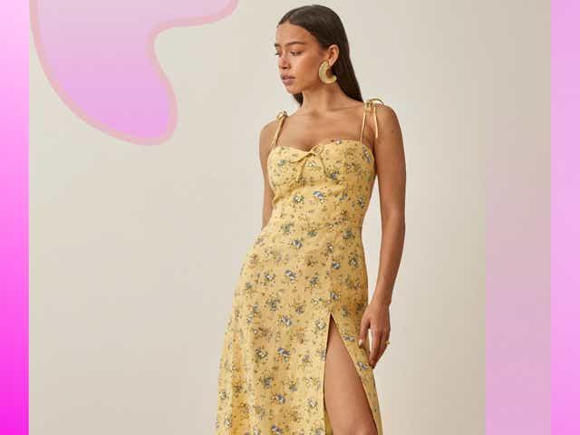 Reformation yellow Joyce dress as seen on Taylor Swift.