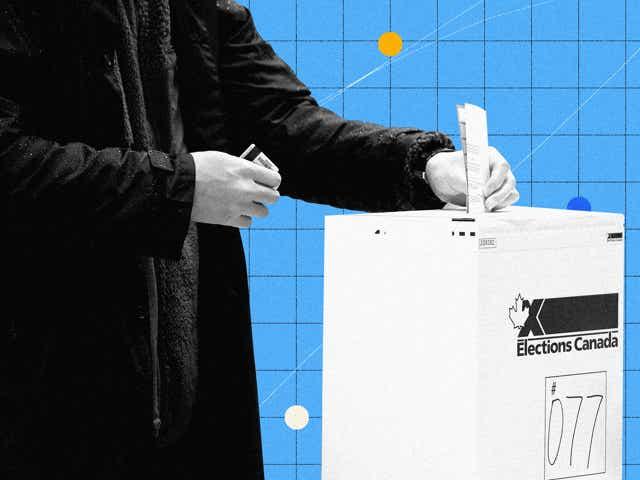 A person putting a ballot in a ballot box