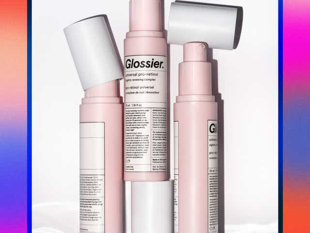 Bottles of Glossier Pro-Retinol on a white background