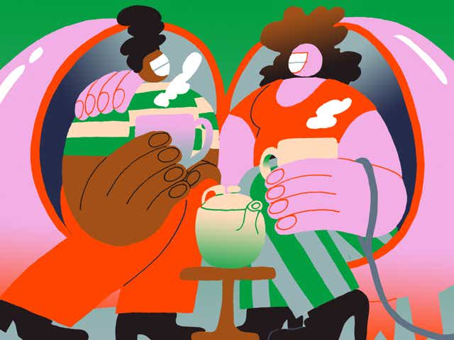 A couple in a romantic relationship enjoying a cup of tea. One partner has a leash wrapped around their hand, connected to a piggy bank hiding in the corner.