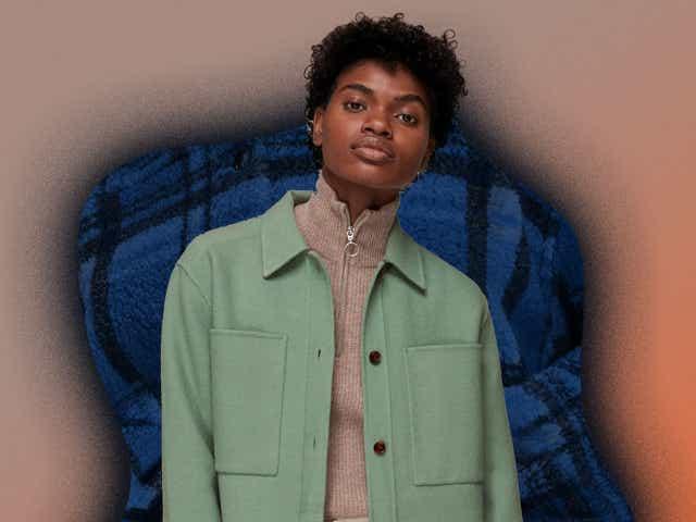 Model wearing mint green shacket