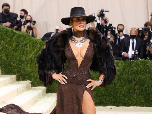 Jennifer Lopez attends The 2021 Met Gala Celebrating In America: A Lexicon Of Fashion at Metropolitan Museum of Art.