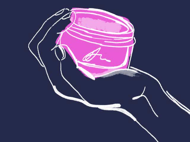 Illustration of a hand holding a pot of skincare