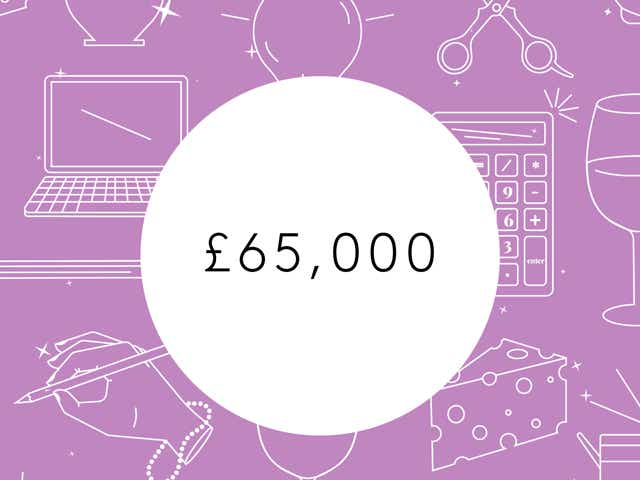 """A white circle with """"£65,000"""" appears on a purple background with white outlines of laptops, keys, calculators, and other money related objects."""