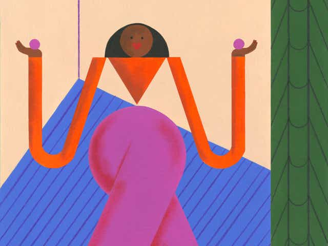 """Conceptual illustration of woman representing the Virgo astrological sign and a banner that reads """"Virgo"""""""