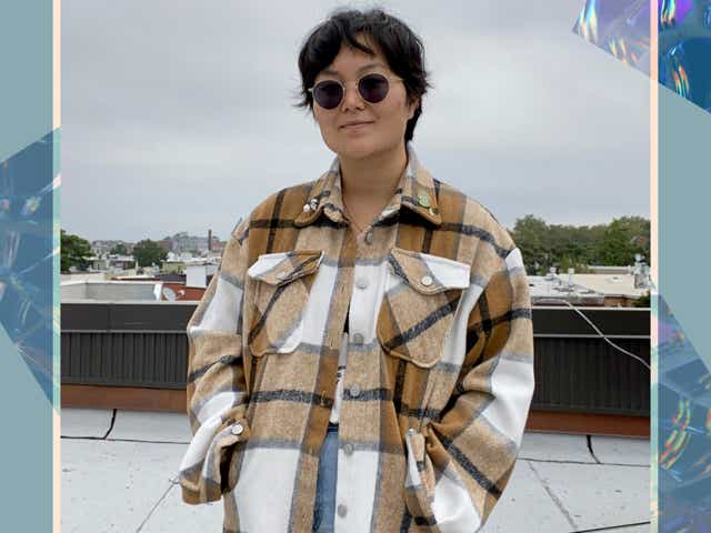 Refinery29 fashion writer wearing a flannel shacket from Amazon