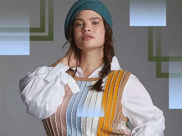 Woman in Anthropologie sweater vest