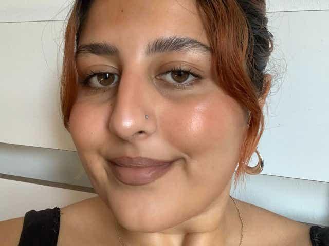 Simran wears brown lipstick