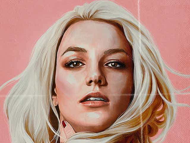 Illustration of blonde women (Britney Spears) holding her neck and looking straight forward