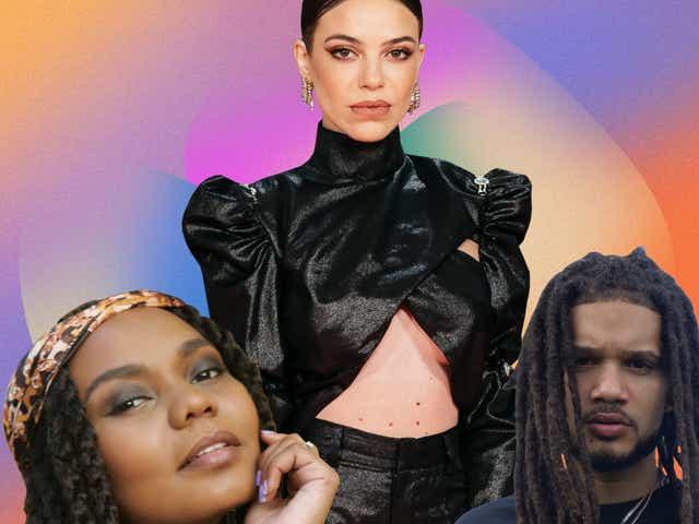 A collage of R&B en Español artists Anmily, María Isabel and GioBulla.