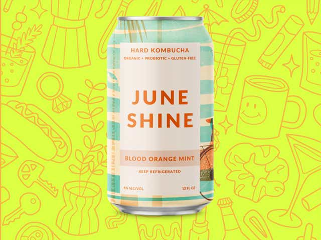 A can of Juneshine over a yellow background with orange line drawings of various objects Money Diarists purchase.