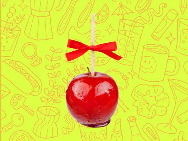 a red candy apple over a yellow background with orange line drawings of various objects Money Diarists purchase.
