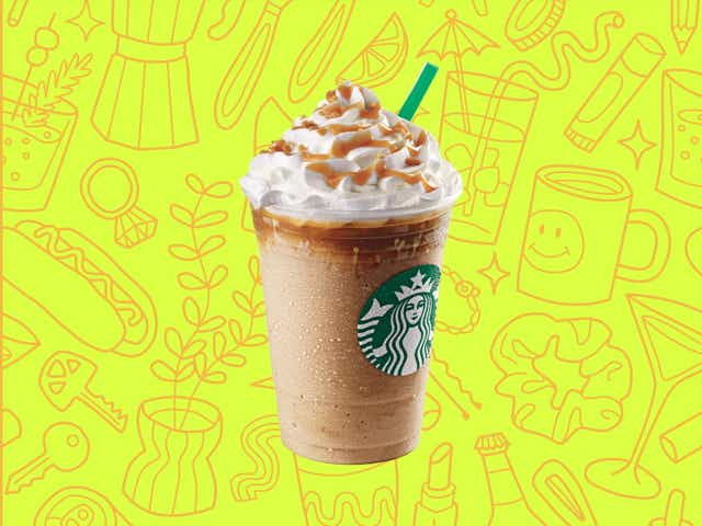 A starbucks frappuccino over a yellow background with orange line drawings of various objects Money Diarists purchase.