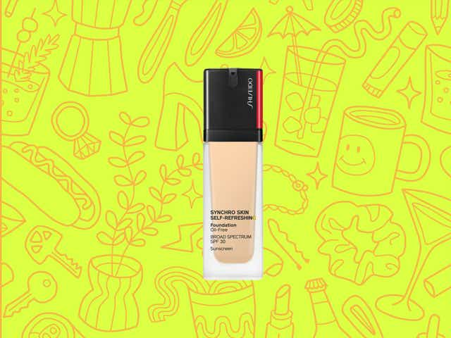 Shiseido foundation over a yellow background with orange line drawings of various objects Money Diarists purchase.
