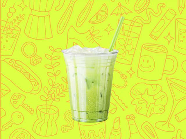 a green iced matcha latte over a yellow background with orange line drawings of various objects Money Diarists purchase.