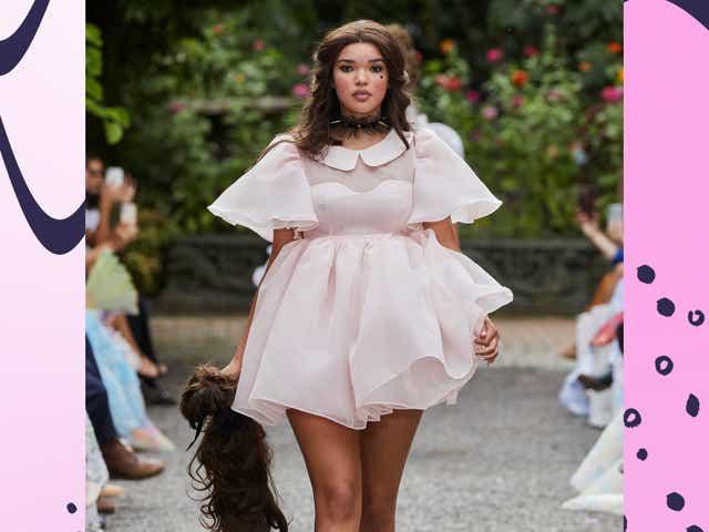 model wears a pink puff dress by selkie