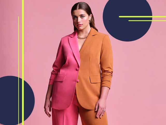 color blocked suit