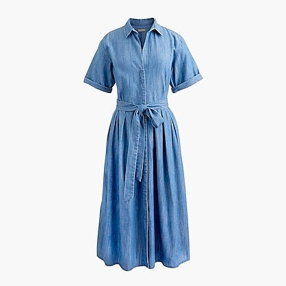 Full-skirt chambray shirtdress in cotton and TENCEL™ lyocell