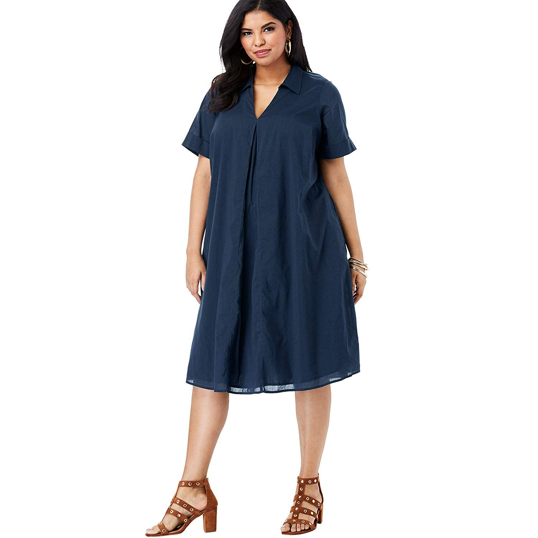 Roaman's Plus Size Collared Swing Dress