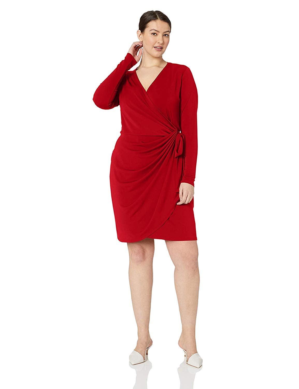 Lark & Ro Plus Size Classic Long Sleeve Wrap Dress