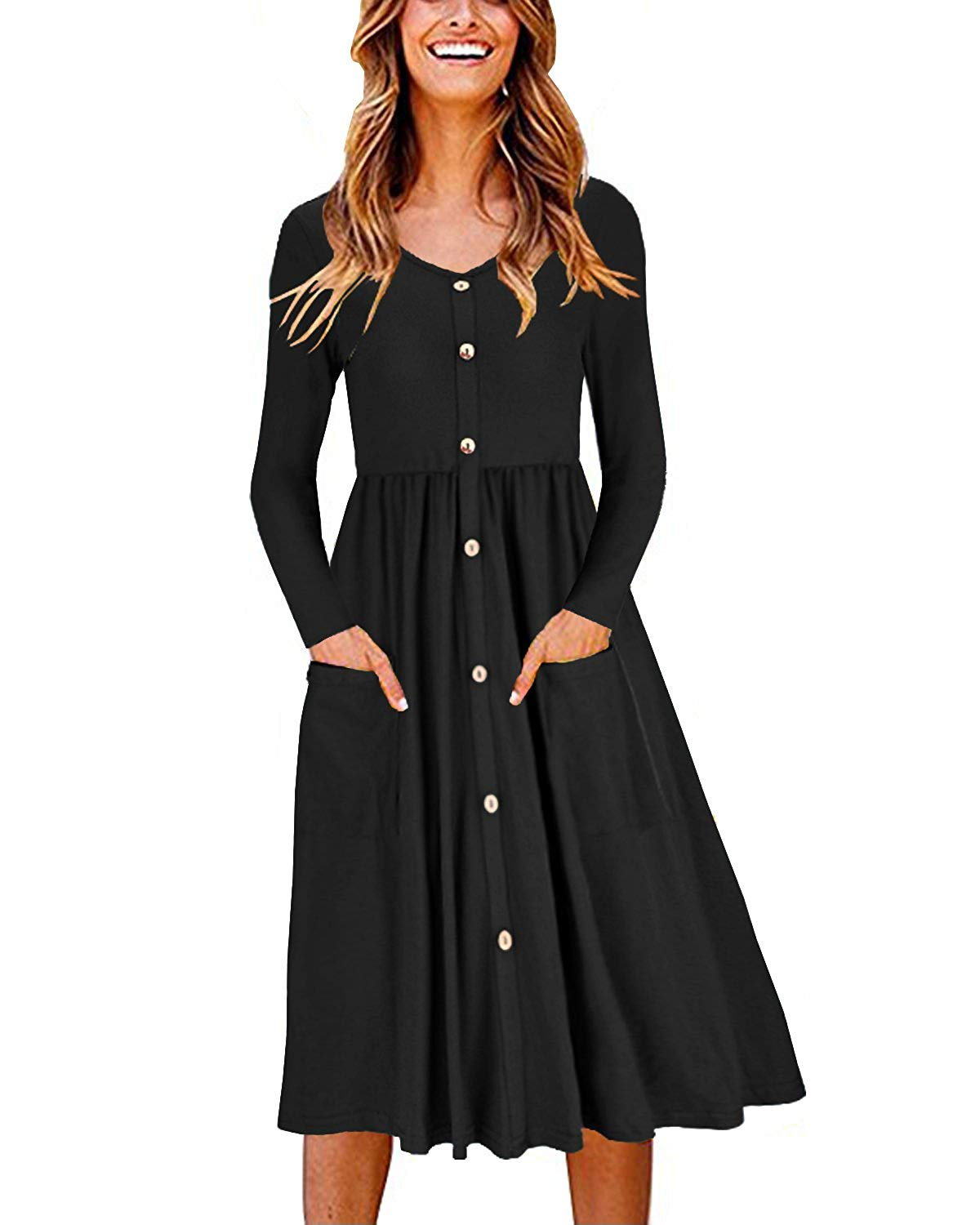 Ouges Long-Sleeve Button-Front Pocket Dress
