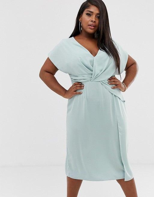 Twist and Drape Front Midi Dress