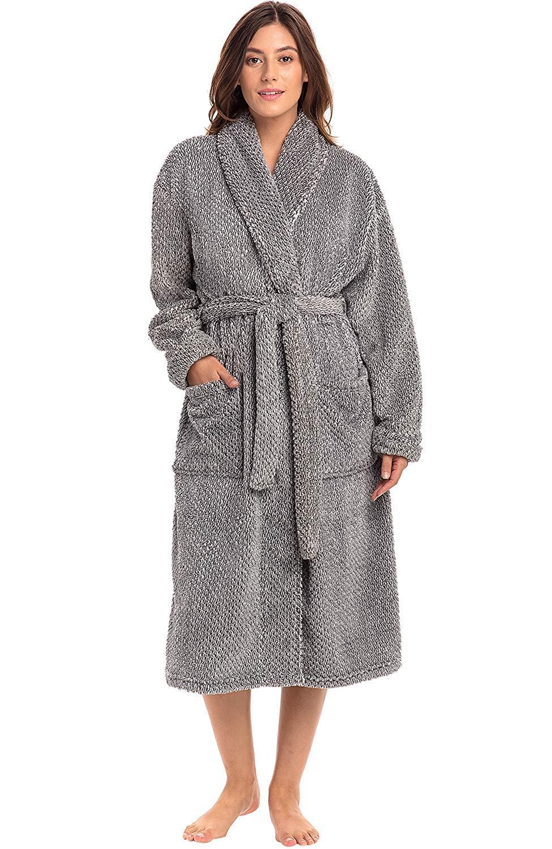 Womens Bathrobe Luxury Fleece Dressing Gown Soft Full Length Robe With Pockets And Belt Plush Winter Fluffy Housecoat Green M Mimbarschool Com Ng