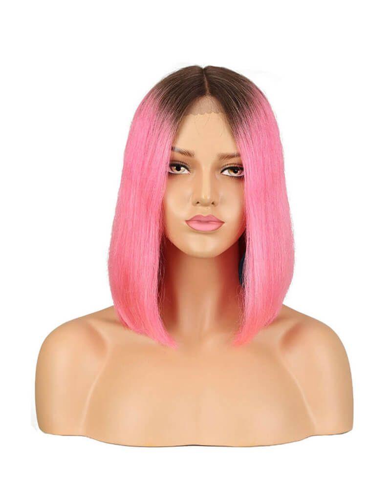 Pink Ombre Heat Resistant Short Bob Wig